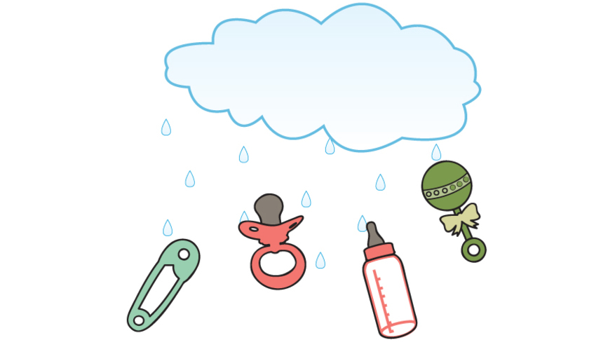 Vector image of cloud raining down on baby bottle, pacifier, rattle and safety pin.