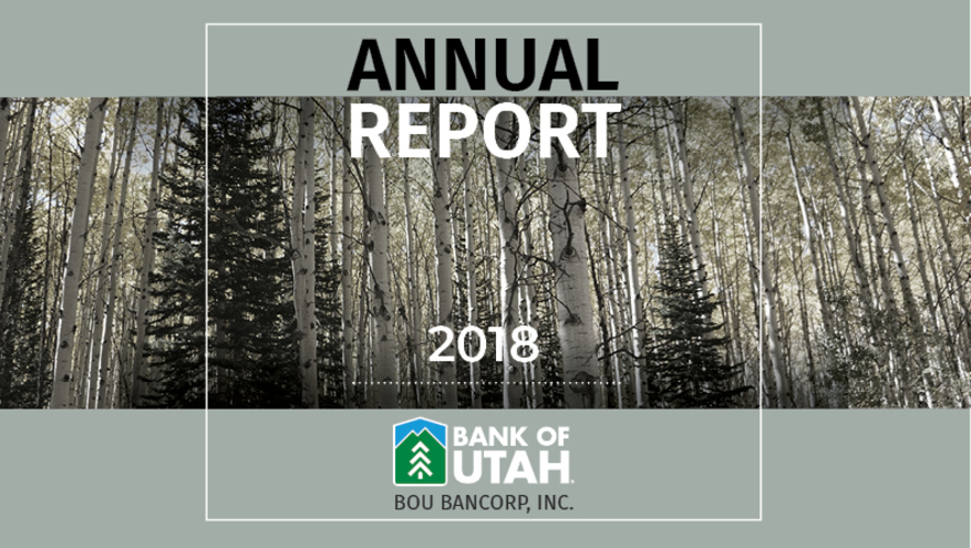 Image of Annual Report 2018 cover, with a scene of an aspen and pine tree forest.