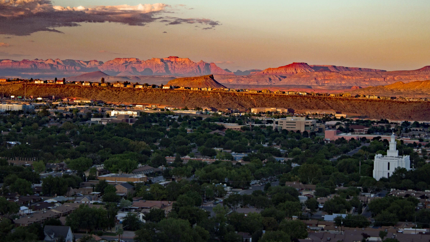 Sunset over the city in St. George, Utah